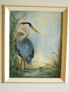 Blue Heron oil on ceramic original